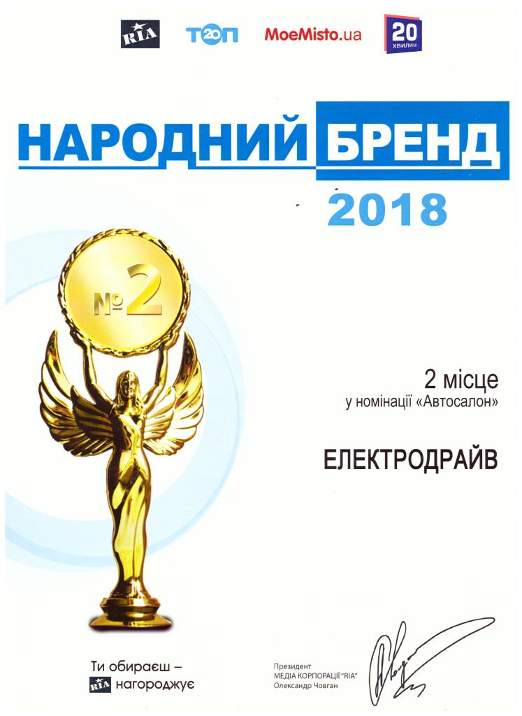 ЕлектроДрайв – Бренд Року 2018!