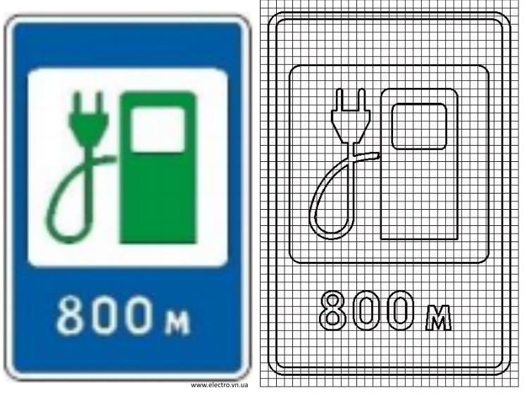 6.7.3 Автозаправні станції. Знак станція заряджання електромобілів